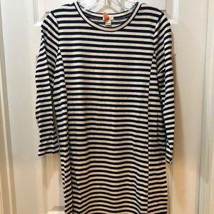 J. Crew Factory Blue & Ivory Striped Dress Medium